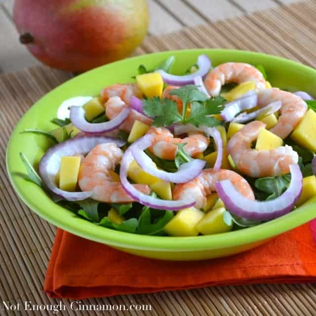 Mango, Avocado And Grilled Shrimp Salad With A Peanut Dressing Recipe ...