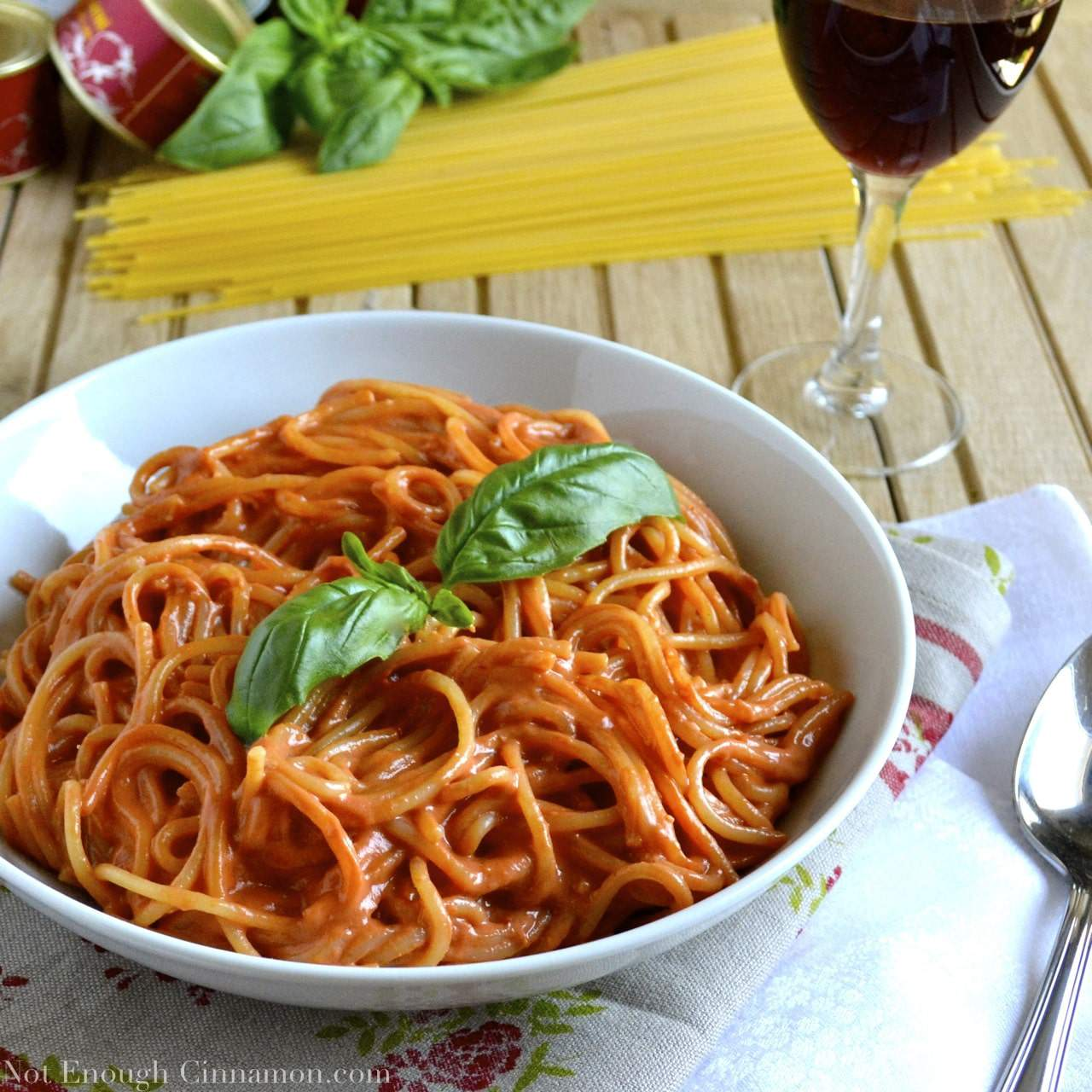 Pasta with Skinny Creamy Tomato Sauce - Not Enough Cinnamon