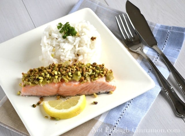 Salmon with Green Olives and Pistachios
