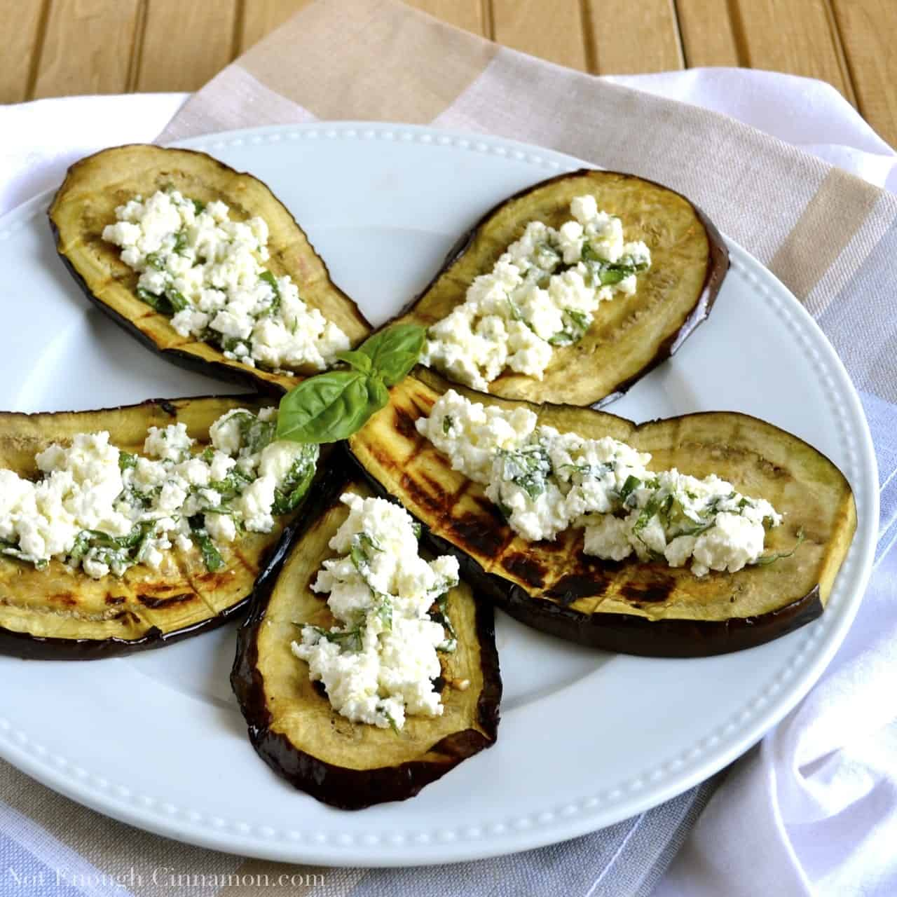 Grilled Eggplant with Basil Feta - Not Enough Cinnamon