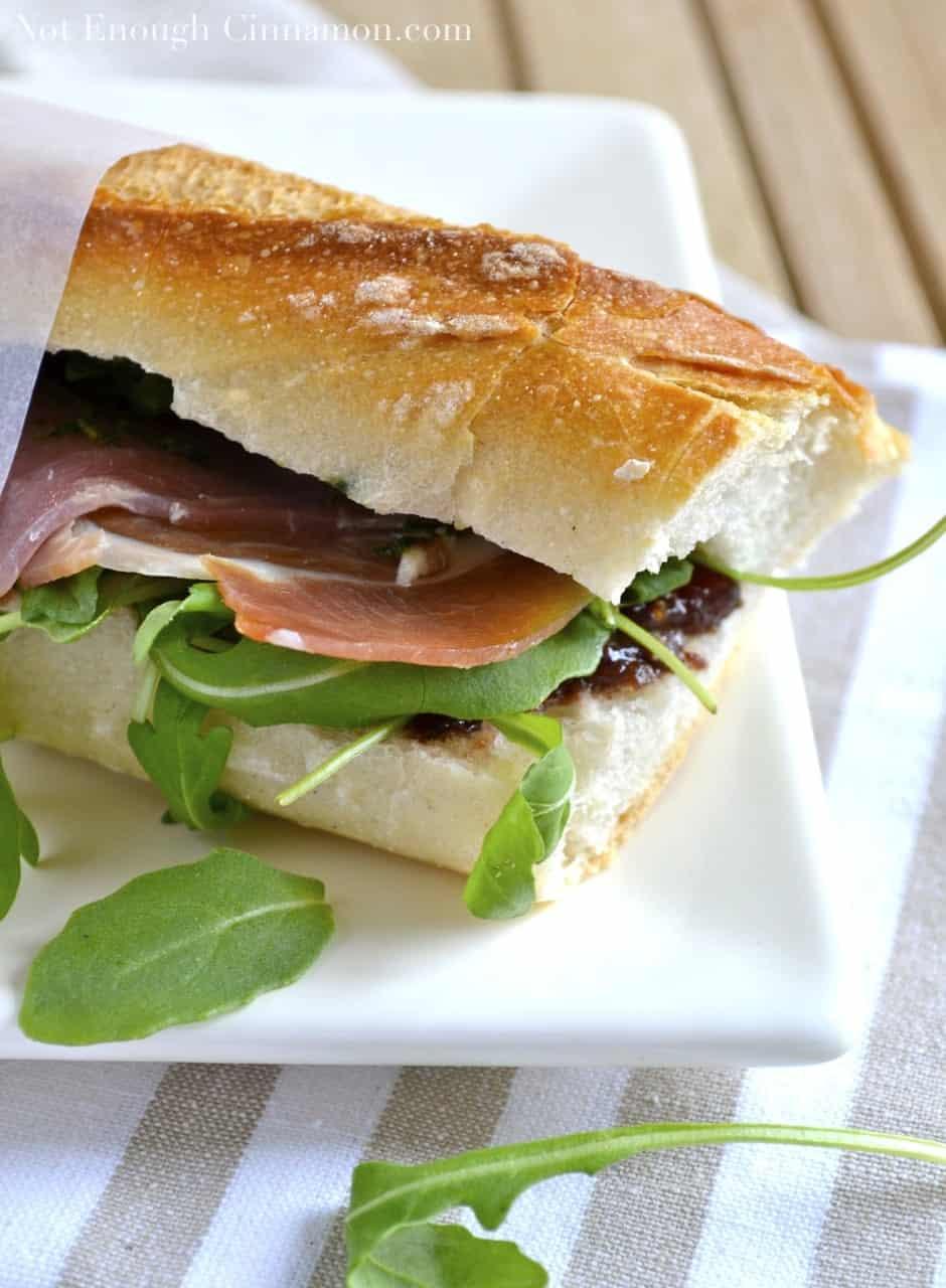 Prosciutto Sandwich with Fig, Pesto and Arugula - Not ...