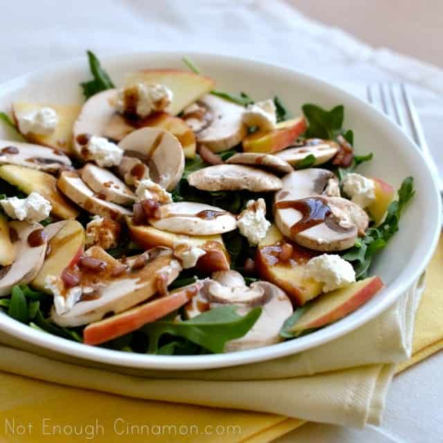 Mushroom apple and goat cheese salad with honey balsamic dressing