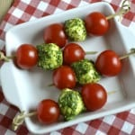 Tomato, Pesto and Mozzarella Skewers