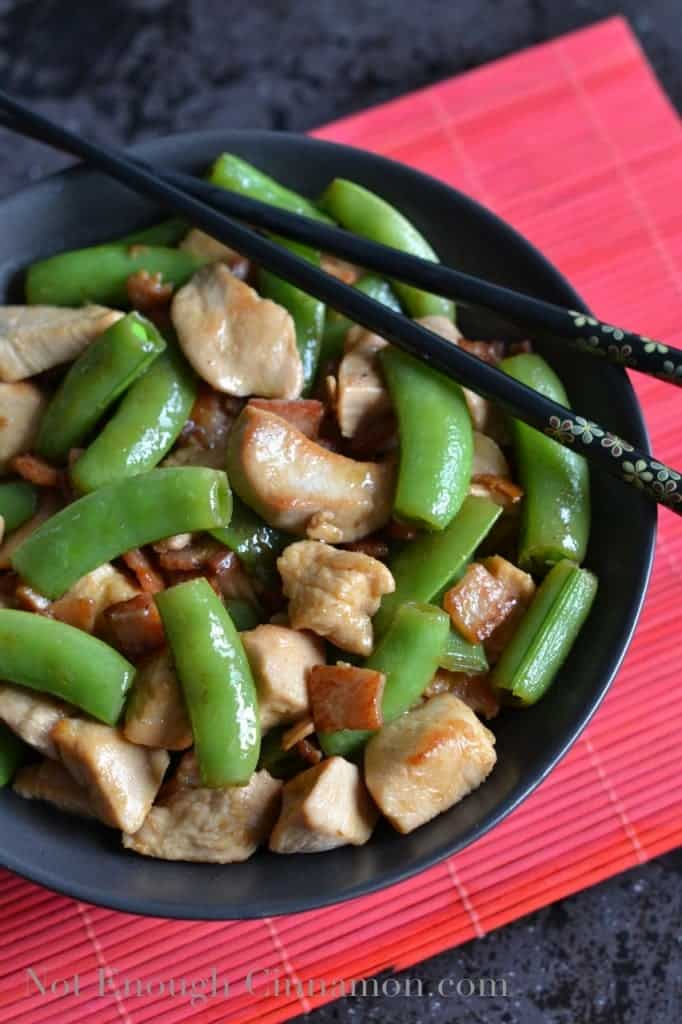 Bacon, Chicken and Snow Peas Stir-Fry