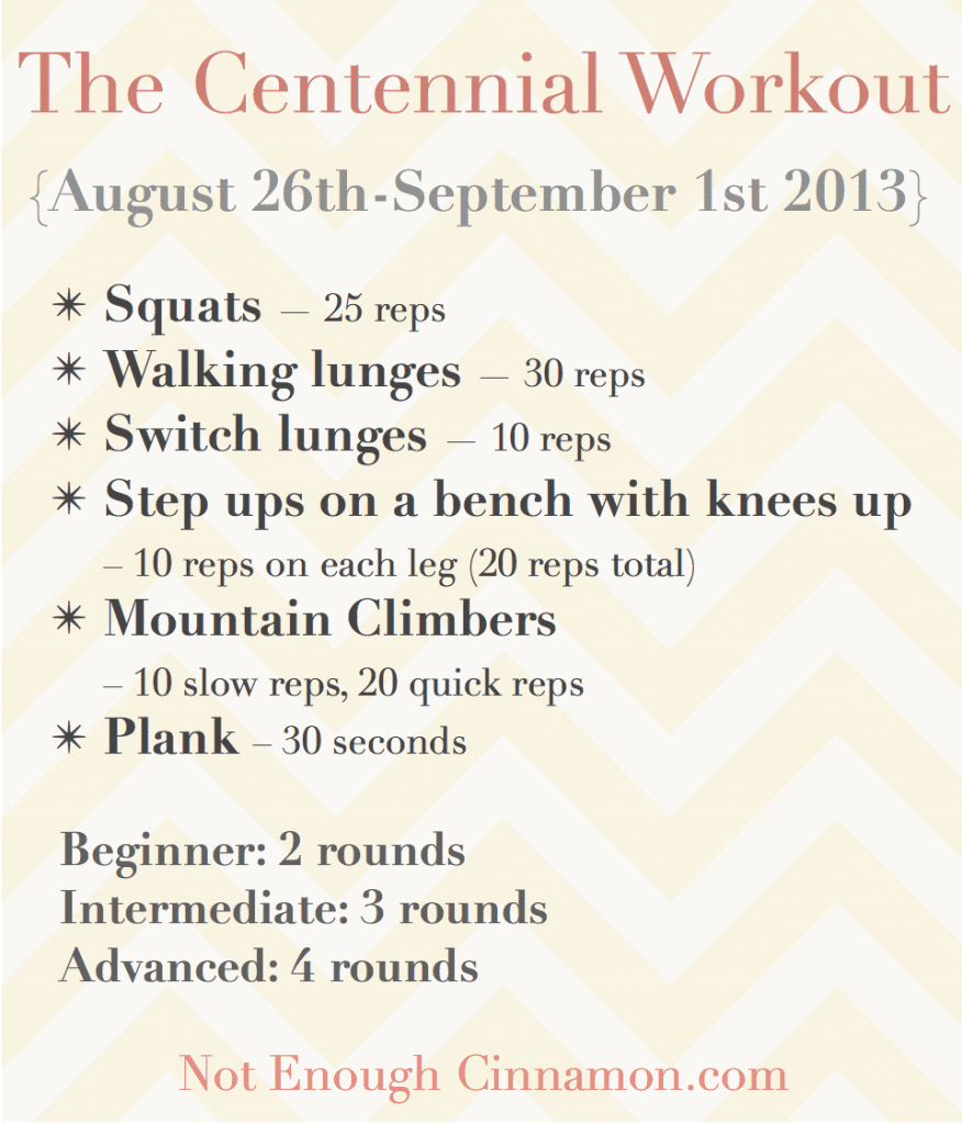 Centennial Workout August 26 - september 1