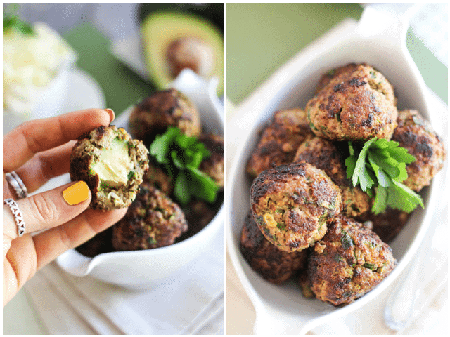 Avocado Stuffed Meatballs - The Healthy Foodie