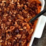 Sweet Potato Casserole with Pecan, Cranberry and Bacon Topping