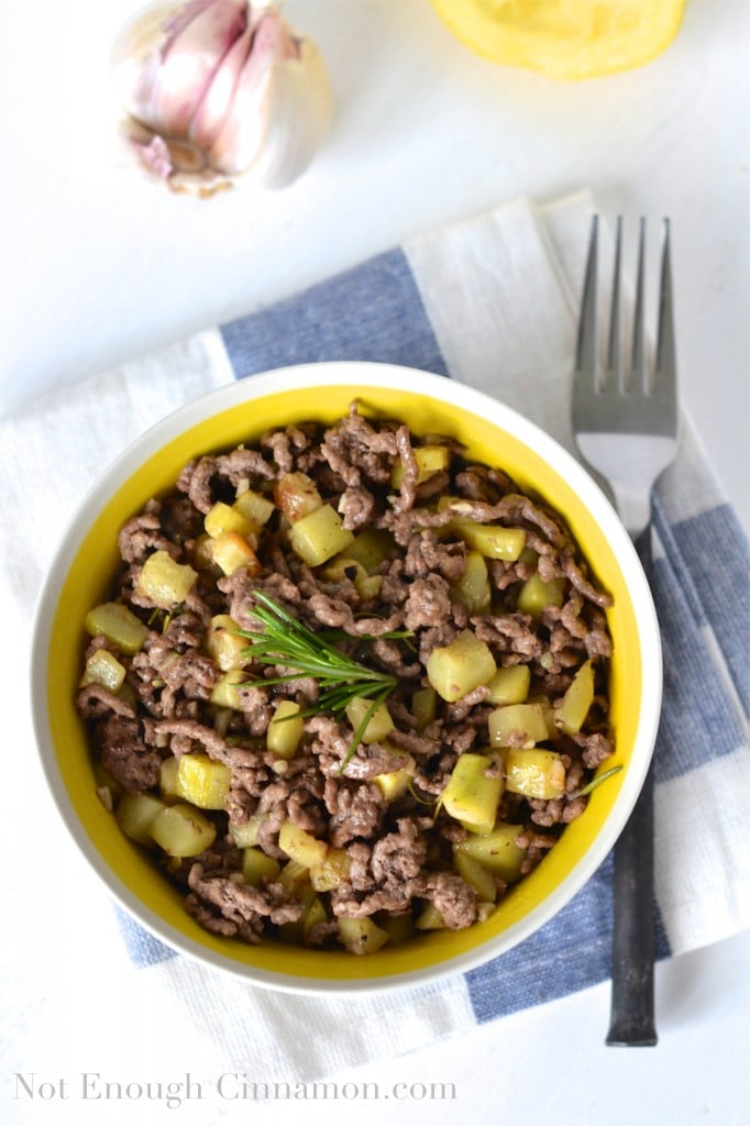 Zucchini, Lemon and Rosemary Beef Skillet