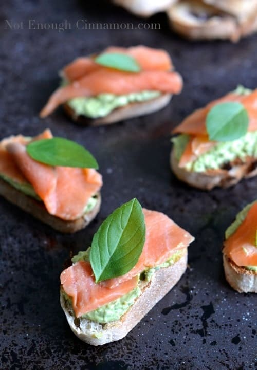 Smoked Trout and Basil Pesto Cream Cheese Crostini - NotEnoughCinnamon.com