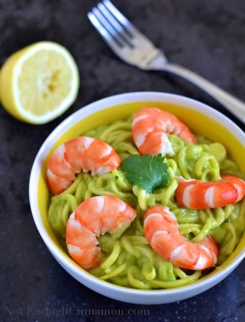 Zucchini Pasta with Creamy Avocado Sauce and ShrimpsNot Enough