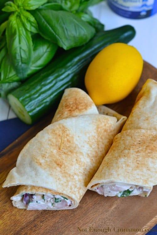 Greek Style Chicken Wraps | notenoughcinnamon.com
