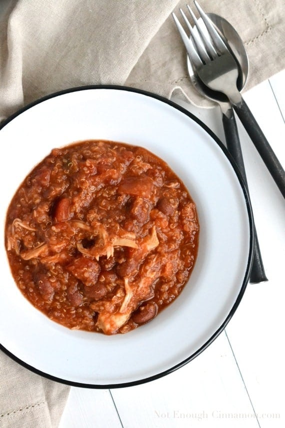 Slow Cooker Quinoa Chicken Chili - NotEnoughCinnamon.com