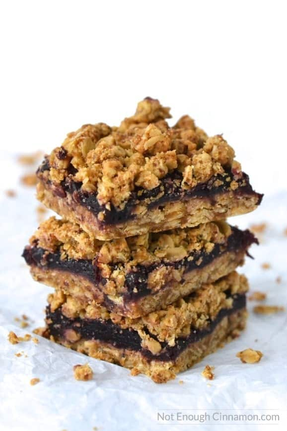Healthier Cherry Oatmeal Bars, made without refined sugar and gluten free. The oat streusel topping is to die for! You can also use other berries like blueberries and raspberries