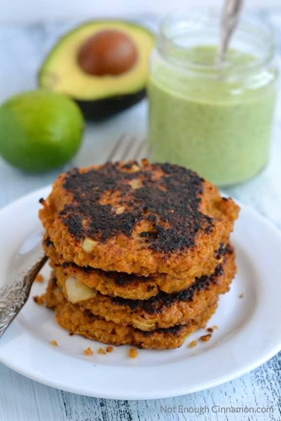 Sweet Potato Quinoa Patties with Creamy Cilantro Avocado Sauce | Find the recipe on NotEnoughCinnamon.com #vegetarian #healthy