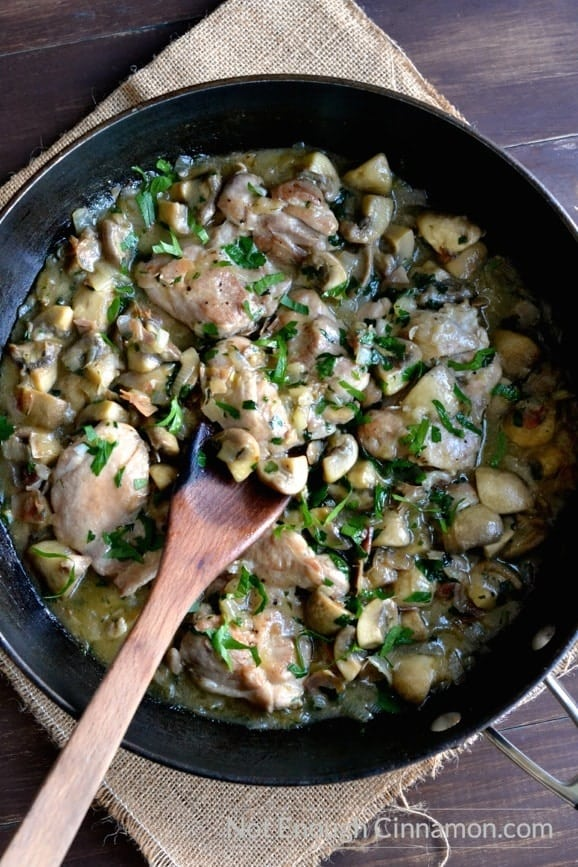 This is the BEST chicken with mushroom recipe! One pan, ready in 40 minutes and...tastes great!   Find the recipe on NotEnoughCinnamon.com