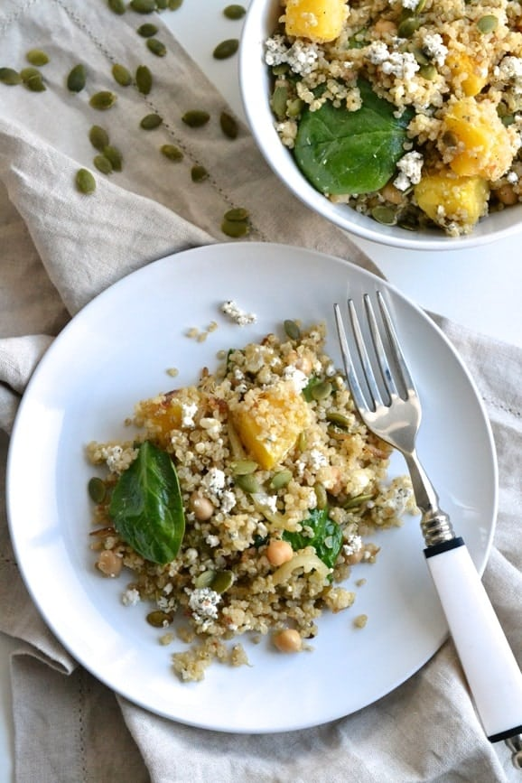A delicious quinoa salad made with squash, chickpeas, goat cheese and more | Find the recipe on NotEnoughCinnamon.com #bondi #dinner #healthy #glutenfree