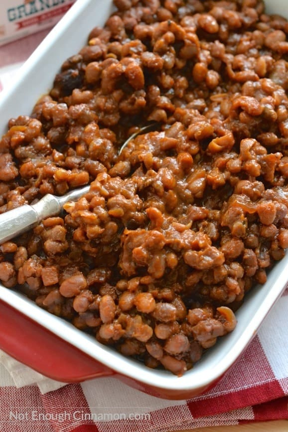 Homemade baked beans made in the slow-cooker for convenience. Very minimal prep, super easy to make | Find the recipe on NotEnoughCinnamon.com #dinner #crockpot #glutenfree2