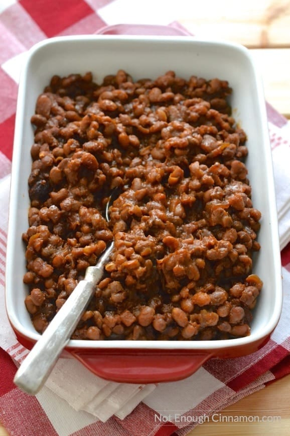 Homemade baked beans made in the slow-cooker for convenience. Very minimal prep, super easy to make | Find the recipe on NotEnoughCinnamon.com #dinner #crockpot #glutenfree3