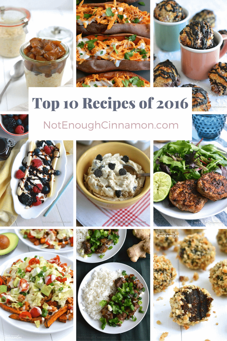 The readers' 2016 favorite recipes from food blog NotEnoughCinnamon.com