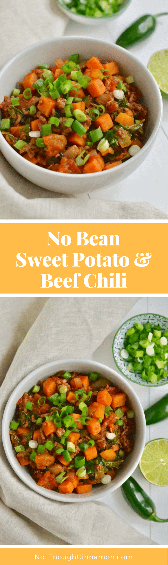 A paleo no bean chili made with sweet potatoes, beef and kale. Comforting, filling and healthy! #glutenfree #cleaneating #stew