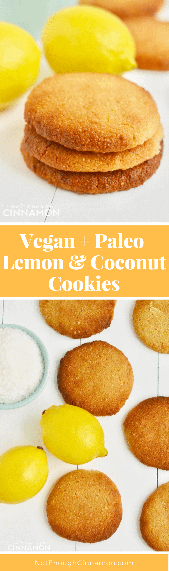Gluten free, vegan and paleo soft cookies that taste just like sunshine! Click here to see this easy recipe on NotEnoughCinnamon.com